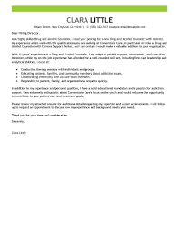 Leading Professional Drug And Alcohol Counselor Cover Letter Example