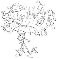 raining cats and dogs clipart. Modren Dogs Black And White Cartoon Humorous Concept Illustration Of Raining Cats  Dogs Saying Or Proverb To And Clipart B