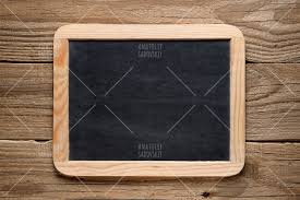 blackboard in wooden frame on old wood example image