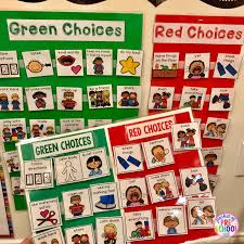 Interactive Charts For Preschool Green And Red Choice Board Pocket Of Preschool