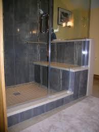 Walk In Tile Shower Interesting Walk In Tile Showers Brown Mosaic Wall Ceramic Bath