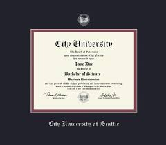 custom diploma frames certificate frames framing success city  city university of seattle diploma 3 07 to present frame black and maroon double mat and silver embossing approximate frame size 17 x 19 inches