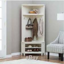 Wooden Coat And Shoe Rack White Corner Bench Hall Tree Wood Coat Rack Stand Entryway Storage 22