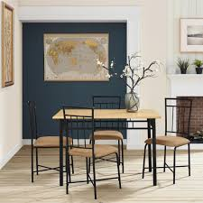 wood metal dining table. Provide Stylish Seating For Friends And Family With The Mainstays 5-Piece Wood Metal Dining Set. Compact Table O