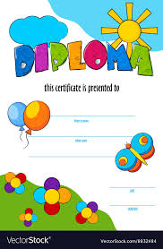 Children Certificate Template Template Of Child Diploma Or Certificate To Vector Image