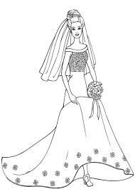 Small Picture Barbie in Beautiful Wedding Dress Coloring Pages Bulk Color