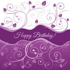 Happy Birthday Card With Pink And Purple Swirls And Leaves Royalty