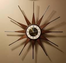 vintage elgin starburst wall clock teak and brass mid century modern works garden ideas for small