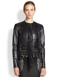 lyst roberto cavalli fringed leather jacket in black