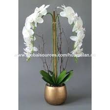 china artificial flowers yellow arrangement boat shape pot orchid fake home decoration long stem flower pots outdoor