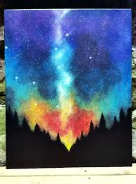 easy canvas painting ideas for beginners made to order sky forest original acrylic painting original art easy canvas painting