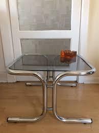 vintage retro 1970s tubular chrome smoked glass coffee table