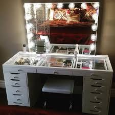 glamorous glass vanity table of storage organization tips makeup with regard to prepare 3