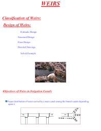 Irrigation Weir Design Weirs