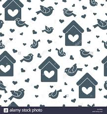 Birdhouse Stencils Designs Cute Seamless Pattern With Birds Birdhouses And Hearts