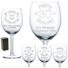 details about personalised wine gl engraved birthday gifts 18th 21st 30th 50th 60th