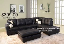 black faux leather sectional sofa couch and storage ottoman set