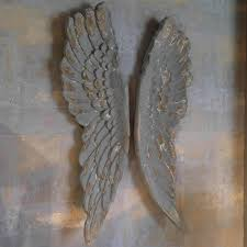 angel wings large antiqued grey silver or gold wall art