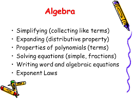 2 algebra simplifying collecting like terms expanding distributive property properties of polynomials terms solving equations simple