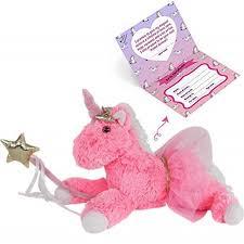 Unicorn Stuffed Animal Fluffy Toys for Girls Age 3 4 5 6 7 8 9, Pink Plush Animal, 13 Inches Kids Toy w Golden M - Walmart.com