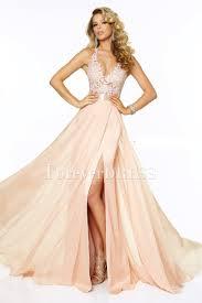 Rosa Abendkleid Halter-Chiffon- Sleeveless Appliqued