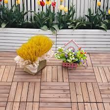 solid wood interlocking decking tiles