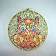 wall clock orange owl tribal home décor