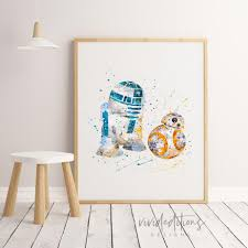 >star wars r2d2 and bb8 playroom nursery wall art decor vivideditions star wars r2d2 and bb8 playroom nursery wall art decor