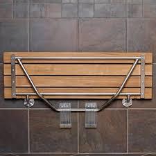teak shower bench wall mount fold down door seat with legs spa