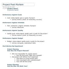 Project Management Post Mortem Template Use A Post Mortem Page To Track Your Thoughts About Your