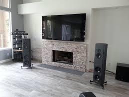 white stone fireplace entertainment