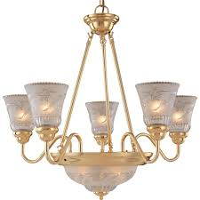 hampton bay 7 light plated polished brass chandelier with frosted clear glass shade