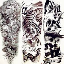 tiger drawing tattoo. Unique Tattoo 48x17CM 3D Fiercely Tiger Mountain Men Boy Temporary Tattoo Long Body Art Drawing  Tattoos Stickers Full With T