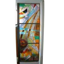 hinged multicolor painted glass door