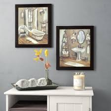 bathroom 2 piece framed painting print set on canvas on bathroom wall art set with bath laundry wall art