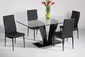 elegant design dining table set with v shape pedestal base