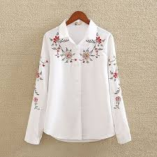 Embroidery White Cotton Shirt 2019 <b>Autumn New Fashion Women</b> ...
