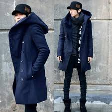2018 zeeshant fashion mens pea coat with hood double ted long cotton trench coat men overcoat in men s wool blends from vanilla04