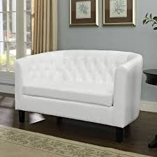 modway prospect white faux leather loveseat
