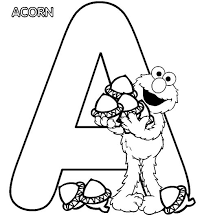 Letter a coloring pages accorn