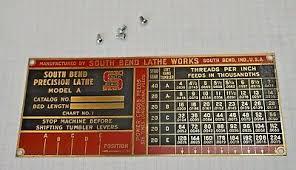 South Bend Lathe Original Name Thread Plates 9 And 10k