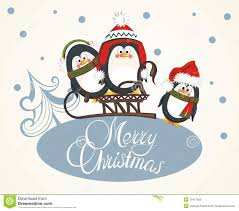 Merry Christmas Card With Penguins Royalty Free Stock Photo ...