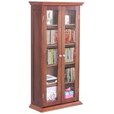 costway 44 5 wood media storage cabinet cd dvd shelves tower glass doors