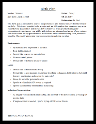 Natural Birth Plan Template Top C Section Birth Plan Sample 48 In Excellent Home Design