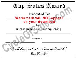 Custom Sales Award Certificates