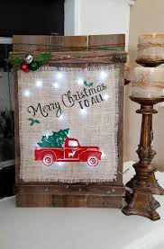 Wooden Christmas Sign With Lights Diy Christmas Wood Burlap Sign Leap Of Faith Crafting
