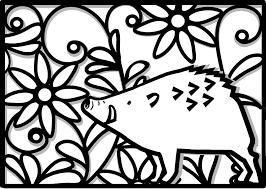 年賀状2019無料イラスト切り絵風いのししと花