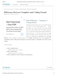 What Is Tamplate Pdf Difference Between Template And Coding Strand