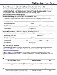 Fillable Online Mychart Fmolhs Mychart Teen Proxy Form