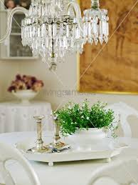 green houseplant and two greek column style candlesticks on white china tray below vintage chandelier 11012724